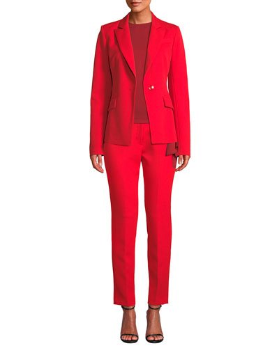 Stretch Crepe Cigarette Pants, Ruby Red and Matching Items