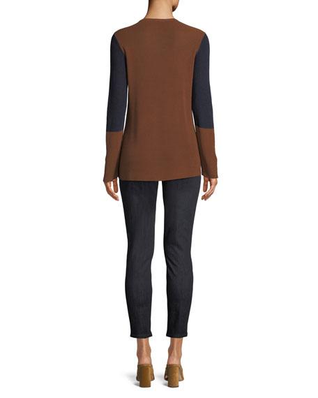 Contrast-Trim Silk-Blend Sweater