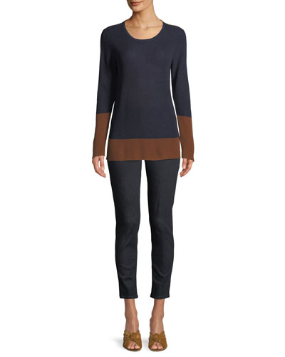 Contrast-Trim Silk-Blend Sweater and Matching Items