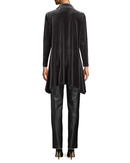 Button-Front Long-Sleeve Stretch-Velvet Side-Fall Shirt, Plus Size