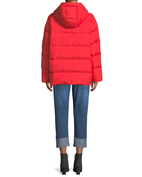 Quilted Nylon Hooded Coat, Plus Size