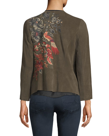 Ferris Embroidered Suede Draped Jacket