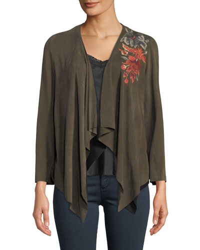 Ferris Embroidered Suede Draped Jacket  and Matching Items
