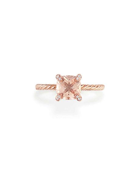 David Yurman Châtelaine Rose Gold  Ring with Morganite & Diamonds, Size 7