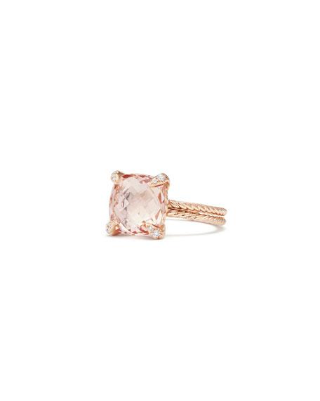 David Yurman Châtelaine 11mm Rose Gold  Ring with Morganite & Diamonds, Size 6
