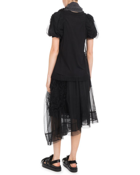 Short-Sleeve Ruched Flower Tulle Blouse