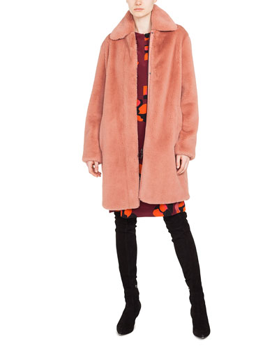 Spread-Collar Zip-Front Faux-Fur Coat  and Matching Items