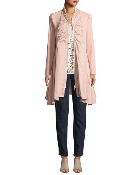 Joan Vass Zip-Front Stretch Interlock/Woven Combo Jacket