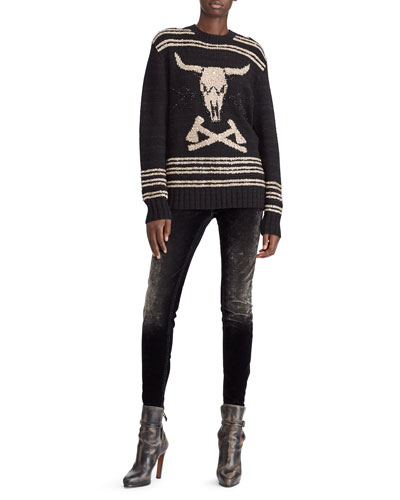 Steer Head Embroidered Crewneck Cashmere-Linen Sweater and Matching Items