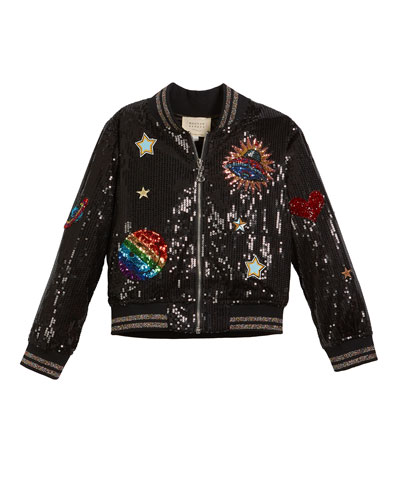 Sequin Bomber Jacket w/ Space Patches, Size 4-6X  and Matching Items