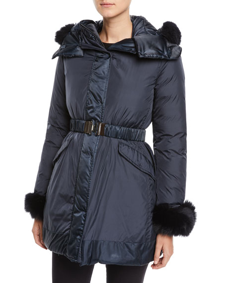 Max Mara Here is the Cube Collection Uniion Detachable Fur Hood Trim