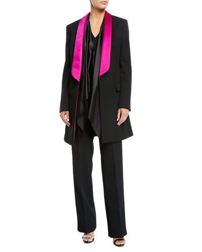 V-Neck Satin Drape-Front Silk Cady Blouse and Matching Items
