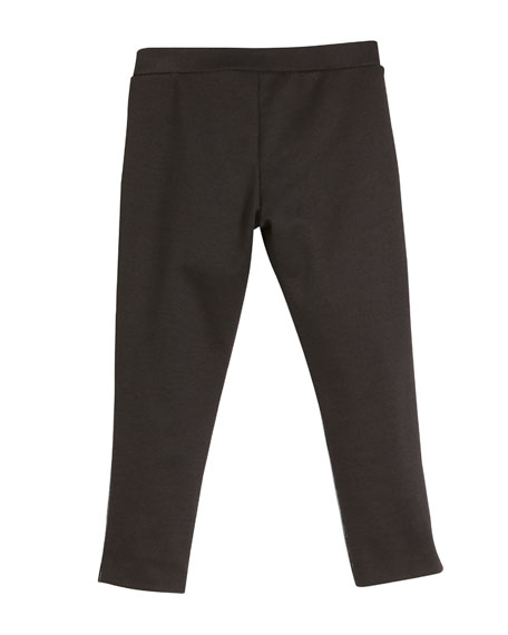 Milly Minis Faux-Leather Front Panel Leggings, Size 4-7