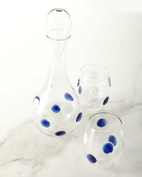 Vietri Dot Glass Decanter