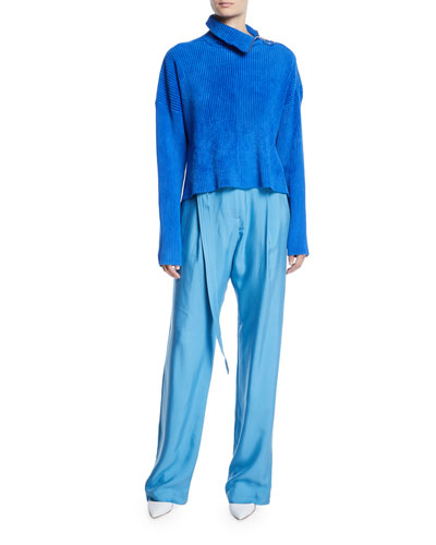 Zipper-Turtleneck Long-Sleeve Boxy Corduroy Sweater and Matching Items