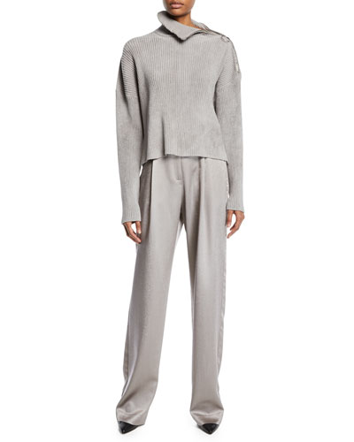 High-Waist Belted Straight-Leg Satin Pants  and Matching Items