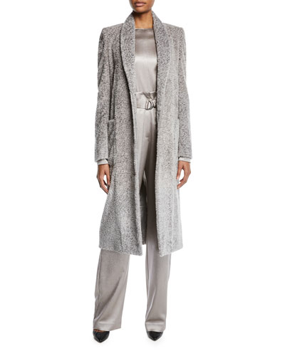 Shawl-Collar Pebbled-Velvet Long Coat and Matching Items