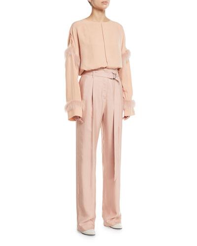 Fur-Trim Crewneck Long-Sleeve Oversized Pintuck Top and Matching Items