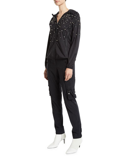 Long-Sleeve Hoodie Jacket w/ Pearly Detail and Matching Items