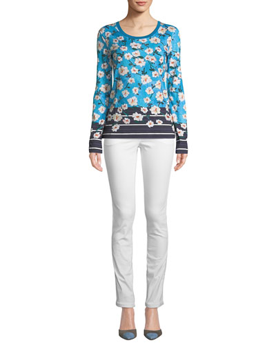 Crewneck Long-Sleeve Floral-Print Cotton Tee and Matching Items