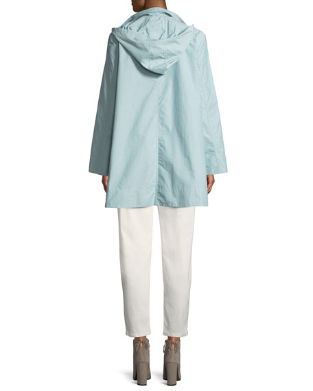Eileen Fisher Hooded A-Line Long Outerwear Jacket