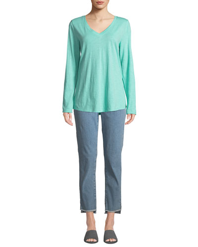 V-Neck Organic Cotton Jersey Slub Top and Matching Items, Petite