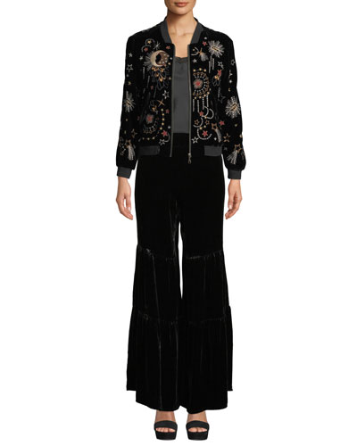 Calisto Embroidered Velvet Bomber Jacket  and Matching Items