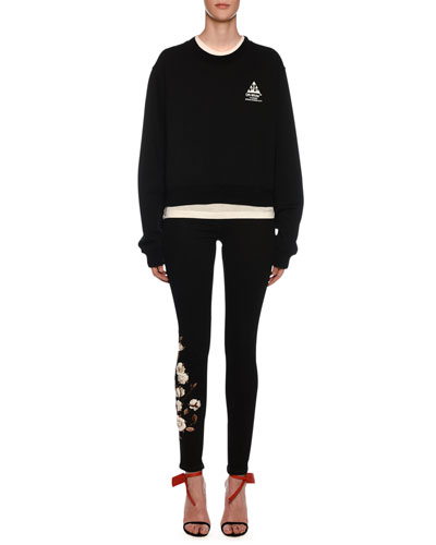Floral-Embroidered Crewneck Sweatshirt and Matching Items