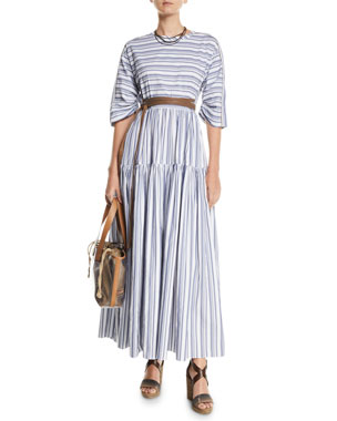 af83f99a9c Brunello Cucinelli 3/4-Sleeve Striped Cotton Midi Dress