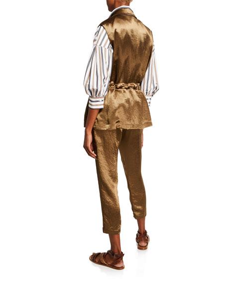 Brunello Cucinelli Rope-Belted Textured Satin Vest