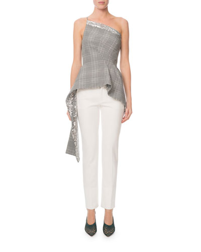 Caplan One-Shoulder Sequined Glen-Plaid Top and Matching Items