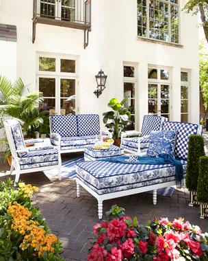 Mackenzie Childs Indigo Villa Outdoor Ottoman Chaise Settee