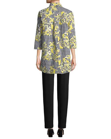 Caroline Rose Hello Yellow Embroidered Button-Front Gingham Tunic