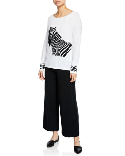 Boat-Neck Sequined Zebra Intarsia Sweater w/ Cuff Detail  Plus Size and Matching Items