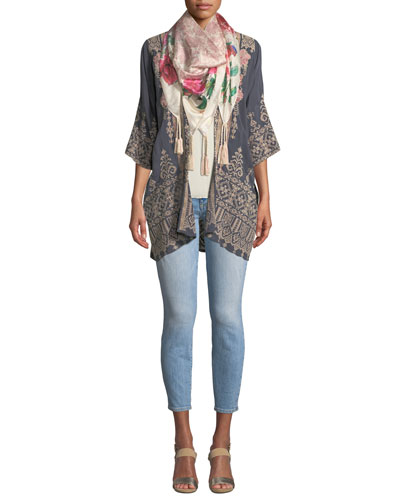 Helena Open-Front 3/4-Sleeve Embroidered Georgette Kimono and Matching Items