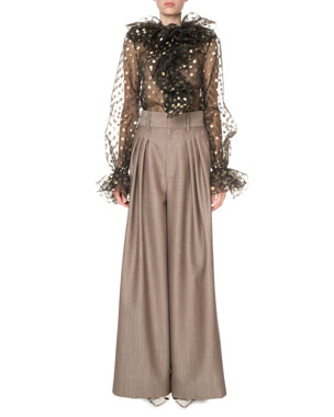 af330def687 Marc Jacobs Metallic Dot Blouse with Ruffles High-Waist Menswear Wide-Leg  Trousers