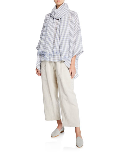 3/4-Sleeve Gingham Oversized Blouse and Matching Items