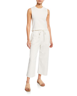 e0aeaf7aa Vince Cropped Cotton Shell Tank Wide-Leg Cropped Cotton Drawstring Pants