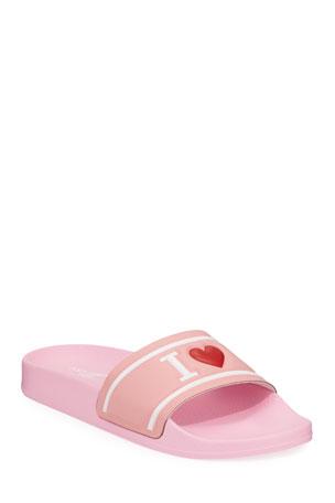 Dolce & Gabbana Leather I Heart D&G Pool Slide Sandals, Kids Leather I Heart D&G Pool Slide Sandals, Kids