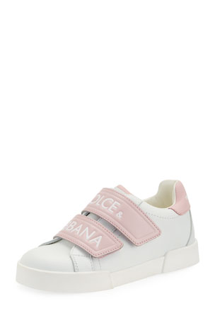 Dolce & Gabbana Double-Strap Two-Tone Leather Logo Sneakers, Kids Double-Strap Two-Tone Leather Logo Sneakers, Kids