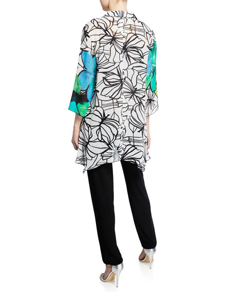 Caroline Rose Butterfly-Print Button-Front 3/4-Sleeve Swing Shirt