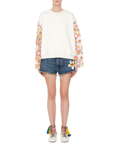 Alanui Cornely Lace-Sleeve Sweatshirt