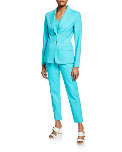 Scalloped-Lapel Cotton Blazer and Matching Items