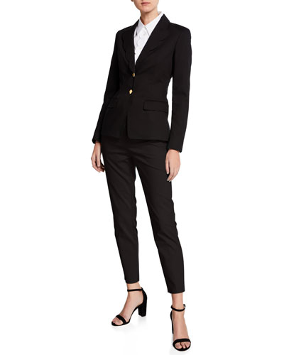 Scalloped-Lapel Cotton Blazer and Matching Items