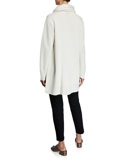 Eileen Fisher Plus Size Bateau-Neck Silk Georgette Crepe Shell