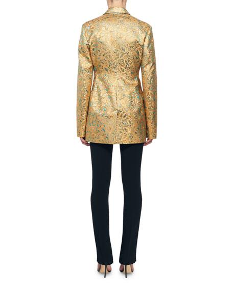 Victoria Beckham Golden Floral Brocade Blazer Jacket
