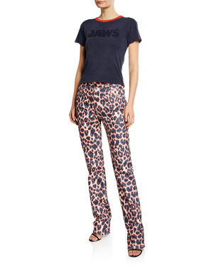 caf8617a CALVIN KLEIN 205W39NYC Animal-Print Straight-Leg Jeans Short-Sleeve Jaws T-