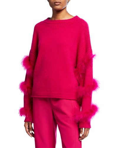 Cashmere-Silk Feather-Wrapped Sweater and Matching Items