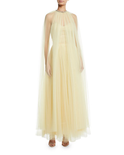 Long Crystal-Neck Tulle Cape and Matching Items
