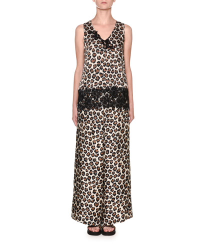 Leopard-Print Sleeveless V-Neck Lace-Trim Top and Matching Items
